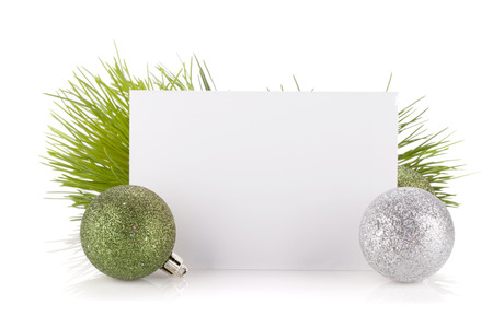Photo pour Empty gift card and christmas decor. Isolated on white background - image libre de droit