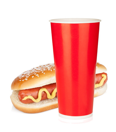 Photo for Fast food drink and hot dog. Isolated on white background - Royalty Free Image
