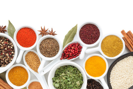Photo pour Various spices selection. Isolated on white background - image libre de droit