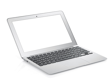 Foto de Netbook with white blank screen. Isolated on white background - Imagen libre de derechos