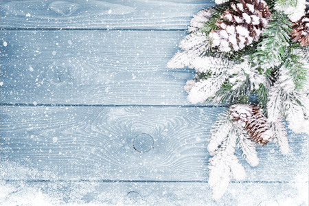 Photo for Old wood texture with snow and firtree christmas background - Royalty Free Image