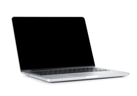 Foto de Laptop with blank black screen. Isolated on white background - Imagen libre de derechos