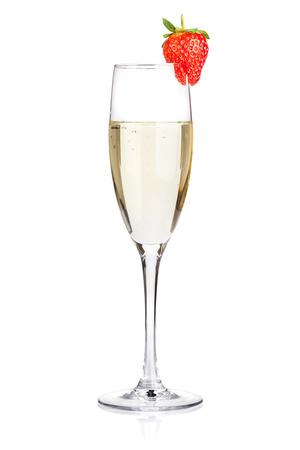 Foto de Champagne with strawberry. Isolated on white background - Imagen libre de derechos