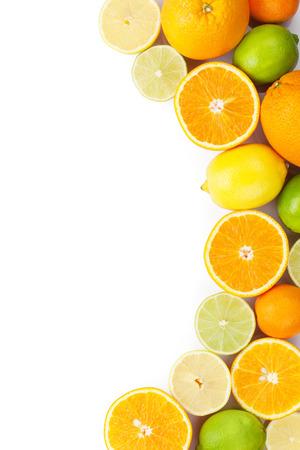 Foto de Citrus fruits. Oranges, limes and lemons. Isolated on white background with copy space - Imagen libre de derechos