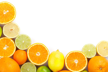 Photo pour Citrus fruits. Oranges, limes and lemons. Isolated on white background with copy space - image libre de droit