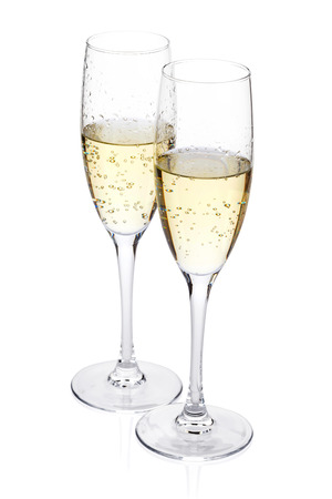 Photo pour Two champagne glasses. Isolated on white background - image libre de droit