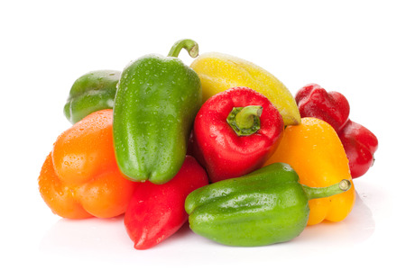 Photo pour Fresh colorful bell peppers. Isolated on white background - image libre de droit