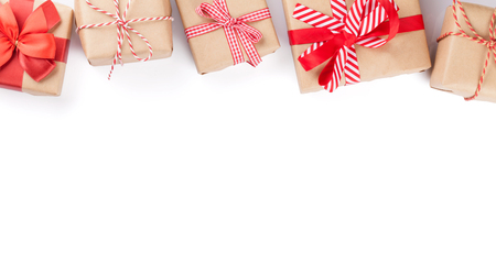 Photo pour Christmas gift boxes. Isolated on white background with copy space - image libre de droit