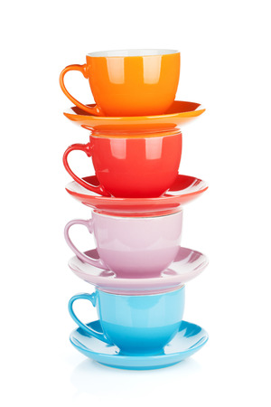 Photo pour Set of colorful cups. Isolated on white background - image libre de droit