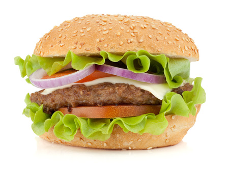 Photo pour Fresh burger. Isolated on white background - image libre de droit