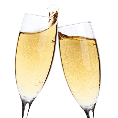 Photo for Cheers! Two champagne glasses. Isolated on white background - Royalty Free Image