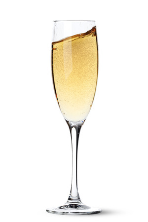 Photo pour Champagne glass with splash. Isolated on white background - image libre de droit