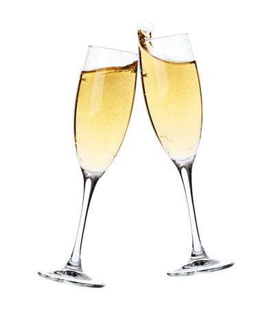 Foto de Cheers! Two champagne glasses. Isolated on white background - Imagen libre de derechos