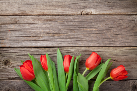 Photo for Red tulips over wooden table. Valentines day background. Top view with copy space - Royalty Free Image