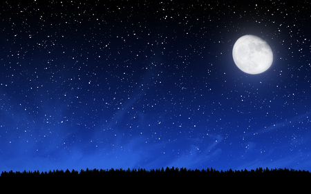 Photo for Deep night sky with many stars and moon over forest background - Royalty Free Image
