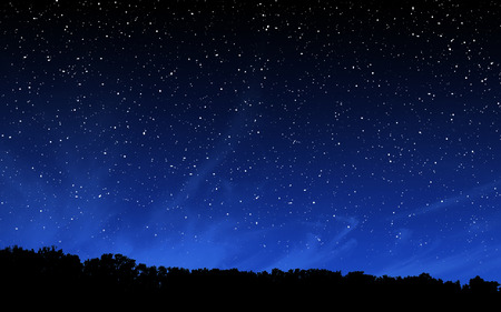 Photo pour Deep night sky with many stars over forest background - image libre de droit