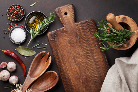 Photo for Cooking table with herbs, spices and utensils. Top view with copy space - Royalty Free Image