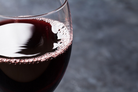 Photo for Red wine glass on stone background with copy space - Royalty Free Image