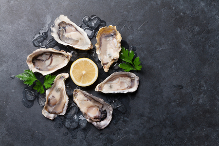Photo pour Opened oysters, ice and lemon on stone table. Half dozen. Top view with copy space - image libre de droit
