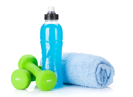 Photo pour Dumbbells, towel and water bottle. Fitness and health. Isolated on white background - image libre de droit
