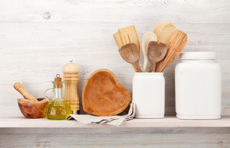 Photo pour Set of various kitchen utensils. In front of wooden wall with copy space for your text - image libre de droit