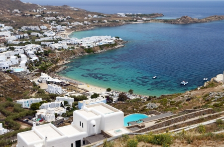 Psarou beach at Mykonos isla