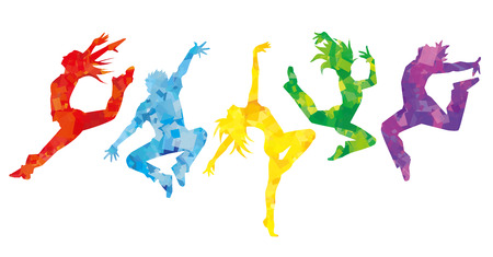 Illustration pour Silhouette of dancers   - image libre de droit
