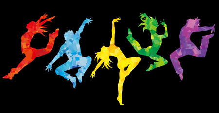 Illustration pour Silhouette of dancers.Black background - image libre de droit