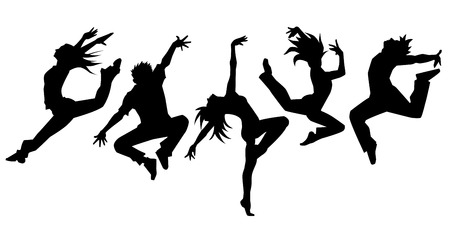 Illustration pour Silhouette of dancers simple - image libre de droit
