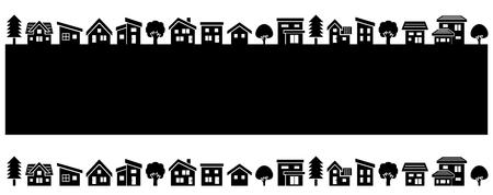 Photo pour simple house and tree-black silhouette- - image libre de droit