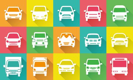 Illustration pour Icon gallery of simple car - image libre de droit