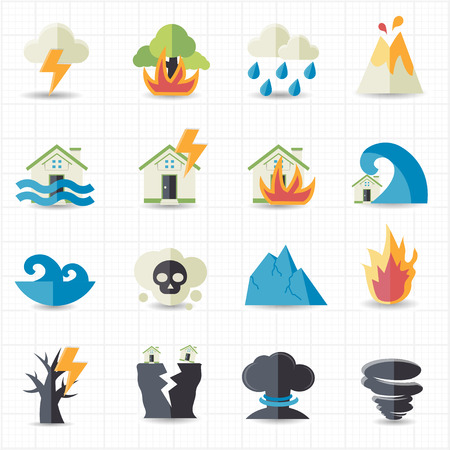 Illustration for Natural disaster icons  - Royalty Free Image