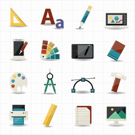 Illustration pour Creativity and Design Icons  - image libre de droit