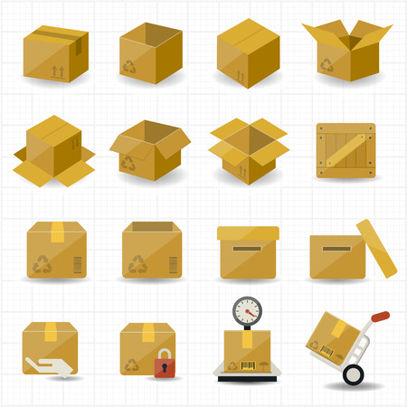 Illustration for Box and Package Icon  - Royalty Free Image