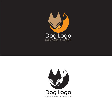 Abstract Dog Logo Design Elements and Fox Icon