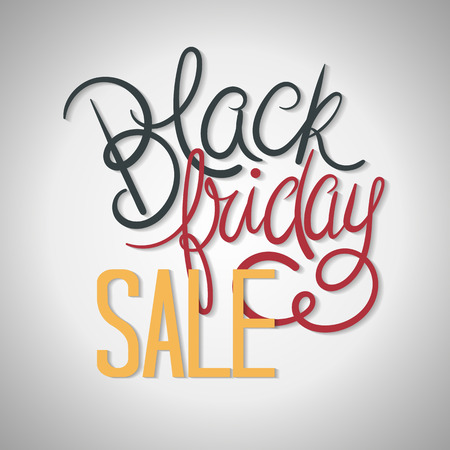 Black Friday Sale Poster Vector Illustration. Hand Lettered Text with Shadows on a Grey Background.