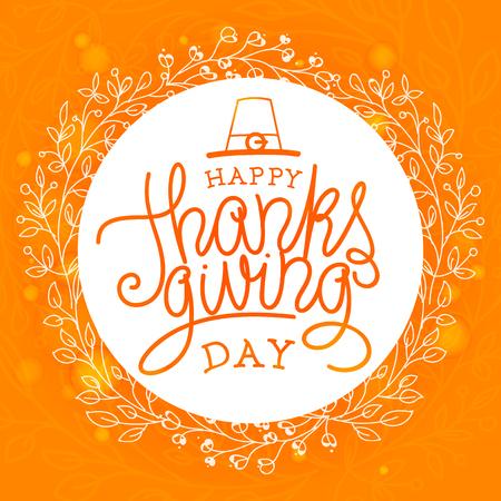 Ilustración de Happy thanksgiving day. Hand lettered vector illustration - Imagen libre de derechos