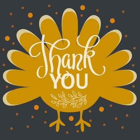 Ilustración de Thank you. Happy thanksgiving day. Hand lettered vector illustration - Imagen libre de derechos