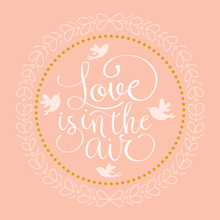 Ilustración de Love is in the air wedding invitation. Hand made vector illustration - Imagen libre de derechos