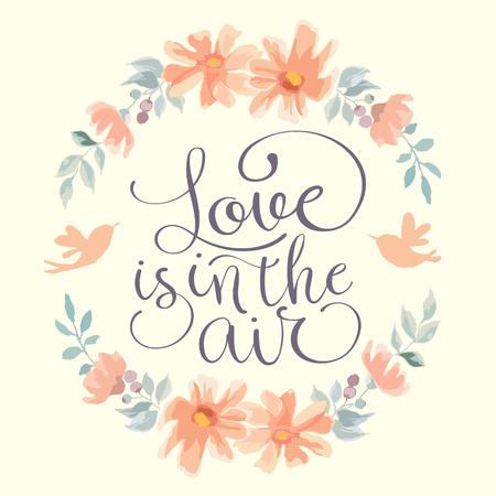 Ilustración de Love is in the air wedding invitation. Hand made vector illustration - Imagen libre de derechos