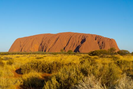 Photo pour in the Australian outback is the landmark of Australia, the ayers rock called Uluru - image libre de droit