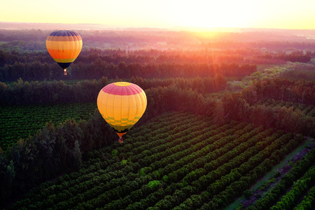 Photo for Two hot air balloons flying over countryside at sunrise. - Royalty Free Image
