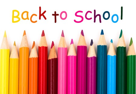 Foto de Colorful pencil crayons on a white background, Back to school - Imagen libre de derechos