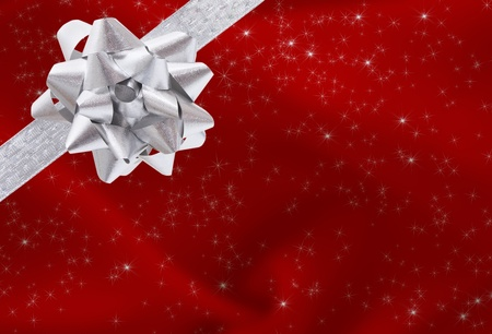 A ribbon and bow on a red background, christmas present background
