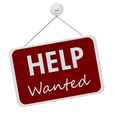 Foto de A red and white sign with the words Help Wanted isolated on a white background, Help Wanted Sign - Imagen libre de derechos