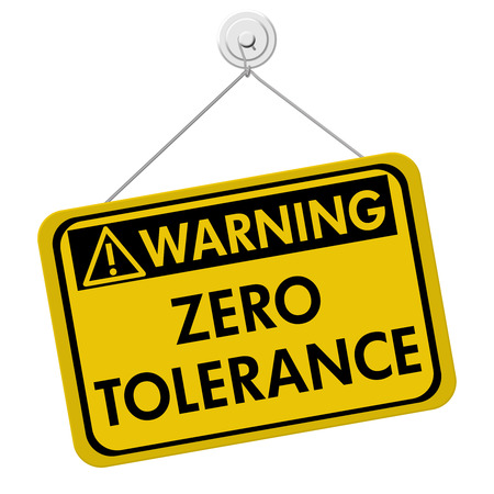 Photo for Zero Tolerance Warning Sign, A yellow and black sign with the words Zero Tolerance isolated on a white background - Royalty Free Image