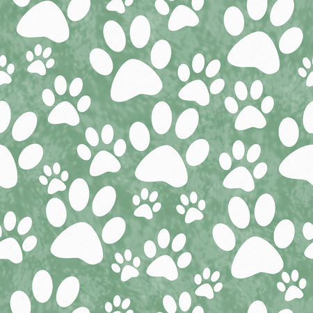 Photo for Green and White Dog Paw Prints Tile Pattern Repeat Background that is seamless and repeats - Royalty Free Image
