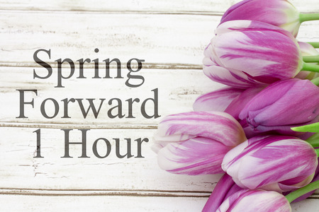 Photo pour Some tulips with weathered wood and text Spring Forward 1 Hour - image libre de droit