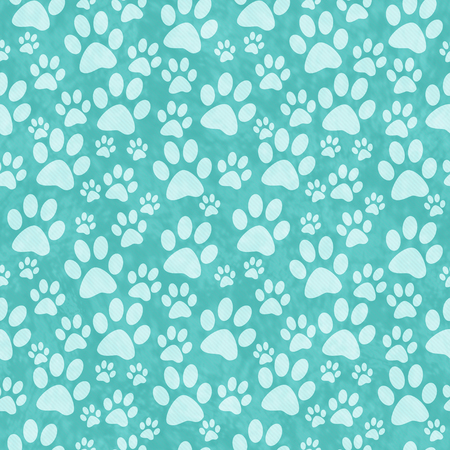 Photo for Teal Doggy Paw Print Tile Pattern Repeat Background that is seamless and repeats - Royalty Free Image