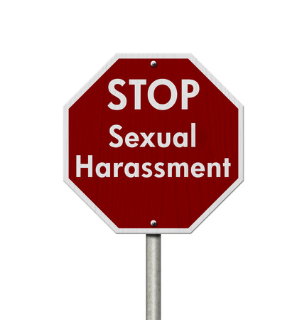 Photo for Red and white stop sign with words Stop Sexual Harassment - Royalty Free Image
